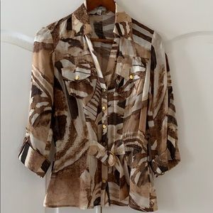 CACHÉ sheer blouse with gold buckle